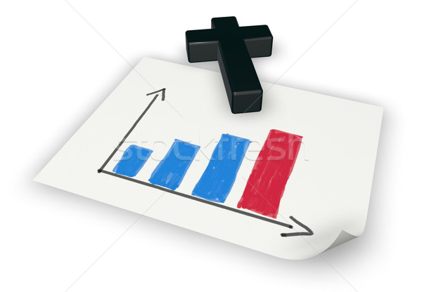 business graph on paper and christian cross - 3d rendering Stock photo © drizzd