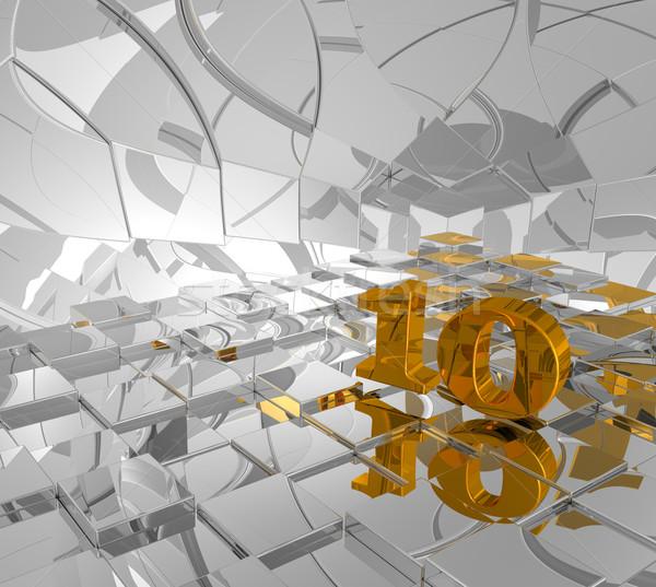 Or nombre dix cubes 3d illustration bâtiment Photo stock © drizzd