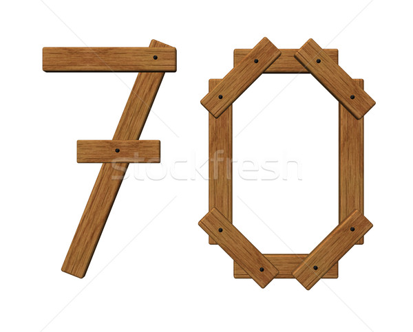 wooden number seventy Stock photo © drizzd