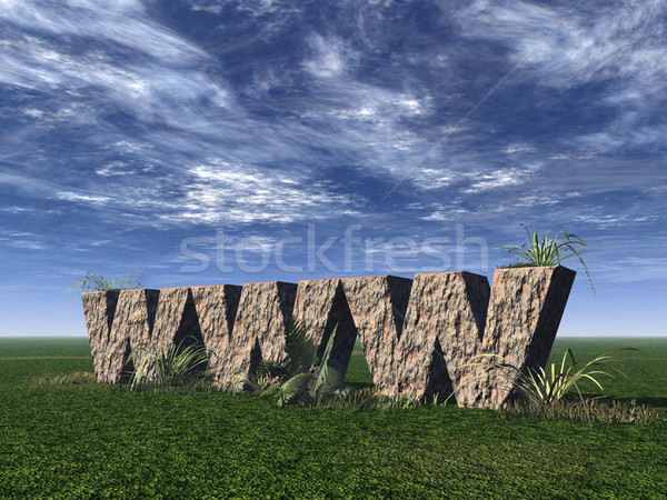 Www rotsen rock groene veld 3d illustration Stockfoto © drizzd
