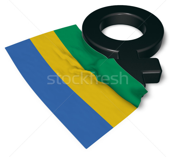 female symbol and flag of gabon Stock photo © drizzd