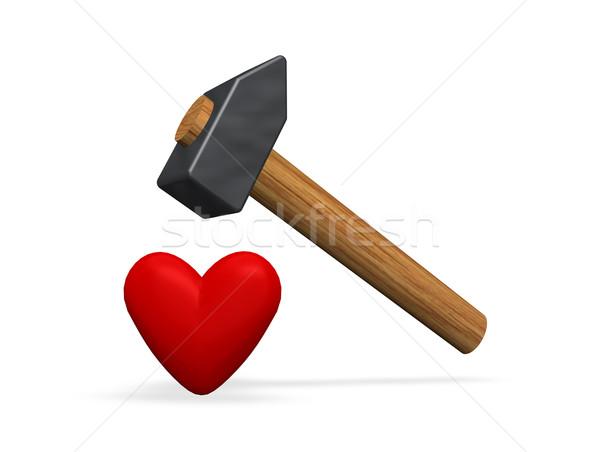 Amore rosso cuore martello bianco illustrazione 3d Foto d'archivio © drizzd