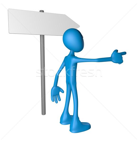Irányítás kék fickó útjelző tábla 3d illusztráció tányér Stock fotó © drizzd