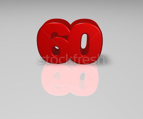 Aantal zestig Rood 3d illustration verjaardag Stockfoto © drizzd