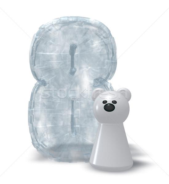 Ijs aantal ijsbeer bevroren acht 3d illustration Stockfoto © drizzd