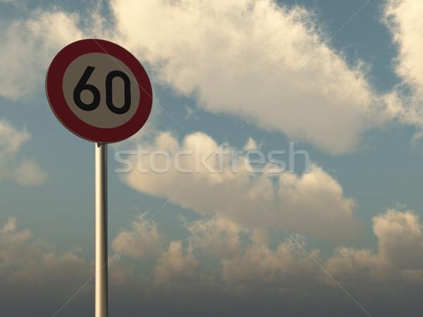 Snelheidslimiet zestig bewolkt blauwe hemel 3d illustration Stockfoto © drizzd