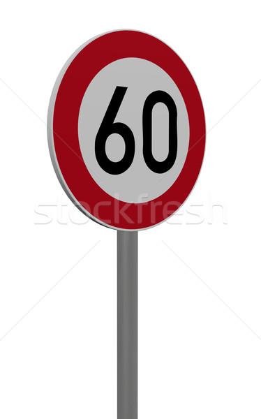Limite de velocidade sessenta branco ilustração 3d assinar Foto stock © drizzd