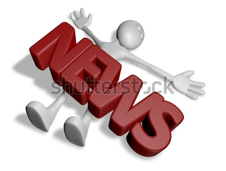 cartoon guy under the word job - 3d rendering Stock photo © drizzd