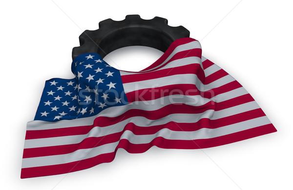 Engrenagem roda bandeira eua 3D Foto stock © drizzd