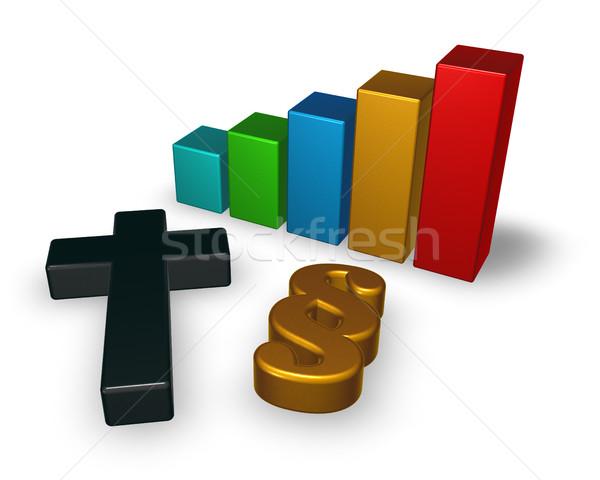 Grafico di affari christian cross comma simbolo 3D Foto d'archivio © drizzd