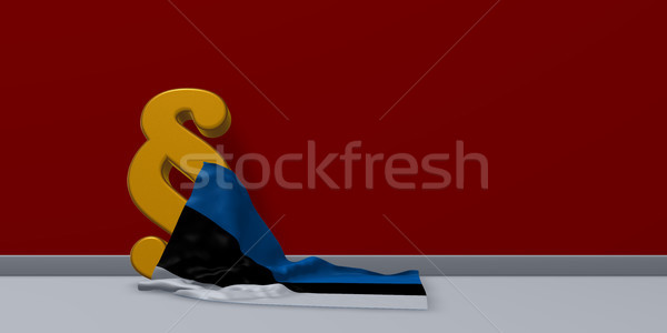 paragraph symbol and flag of estonia - 3d rendering Stock photo © drizzd