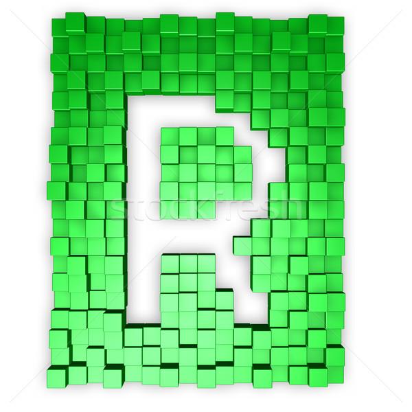 Kockák r betű forma 3d illusztráció épület háttér Stock fotó © drizzd