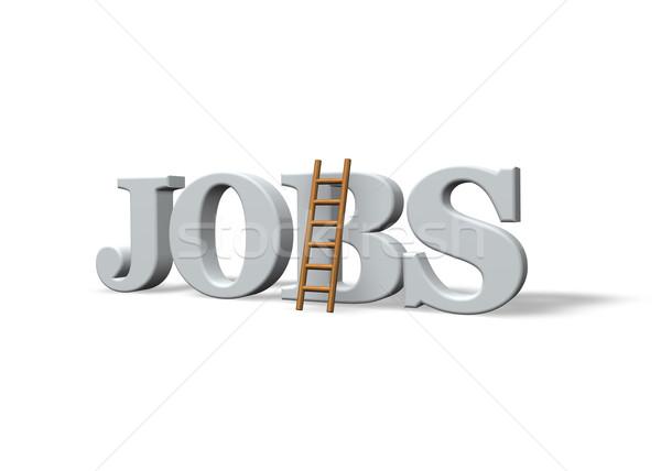 Offerte di lavoro parola scala bianco illustrazione 3d lavoro Foto d'archivio © drizzd