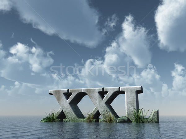 Xxl brieven rock oceaan blauwe hemel 3d illustration Stockfoto © drizzd