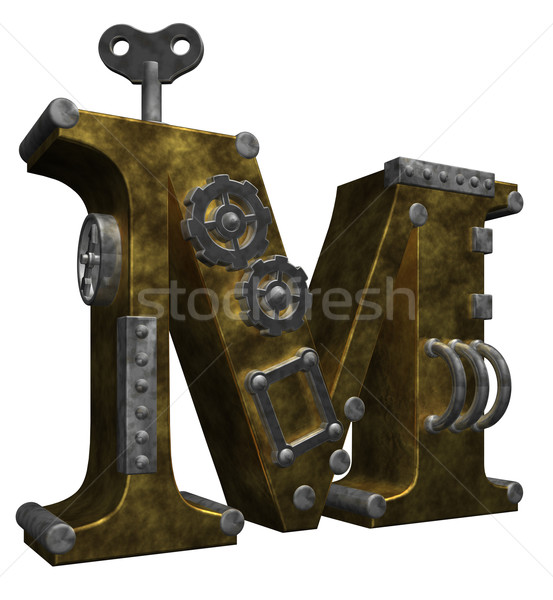 Steampunk lettre m blanche 3d illustration technologie métal Photo stock © drizzd