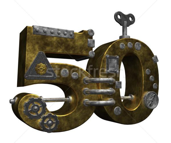 числа пятьдесят стимпанк белый 3d иллюстрации Финансы Сток-фото © drizzd