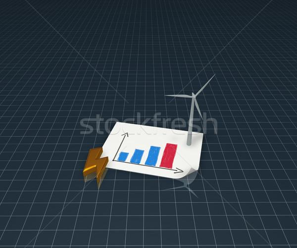 風 電源 ジェネレータ フラッシュ シンボル ビジネスグラフ ストックフォト © drizzd