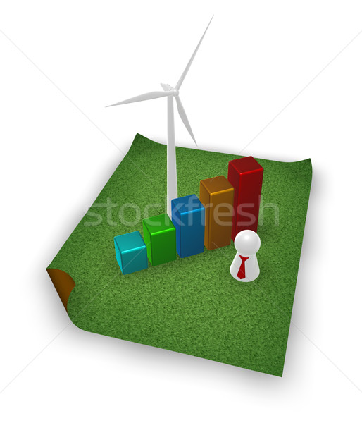 Tiszta energia szélturbina üzleti grafikon fű 3d illusztráció energia Stock fotó © drizzd