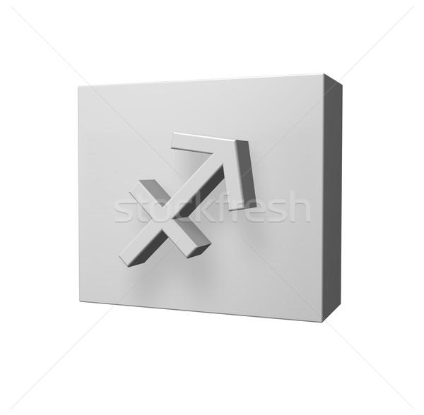 лучник символ белый 3d иллюстрации знак окна Сток-фото © drizzd
