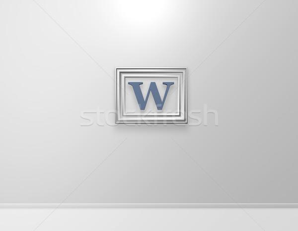 Sanat resim çerçevesi w harfi beyaz duvar 3d illustration Stok fotoğraf © drizzd