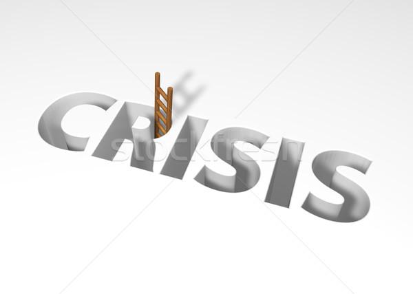 Válság szó létra 3d illusztráció üzlet felirat Stock fotó © drizzd