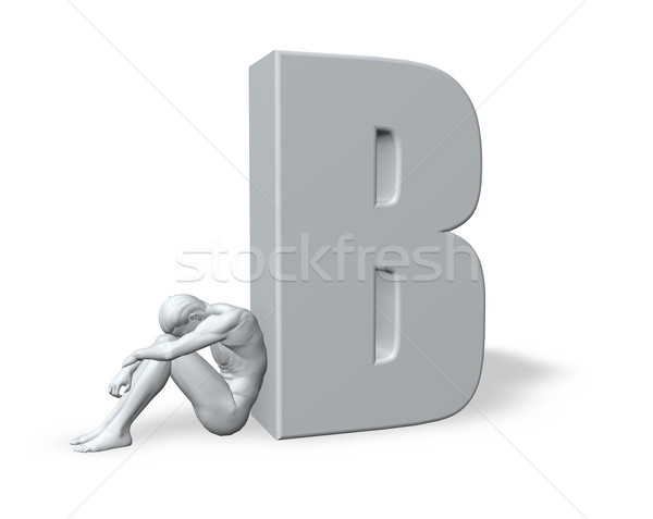 sitting man leans on uppercase letter B Stock photo © drizzd