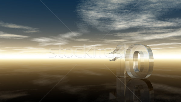 glass number ten under cloudy sky - 3d rendering Stock photo © drizzd