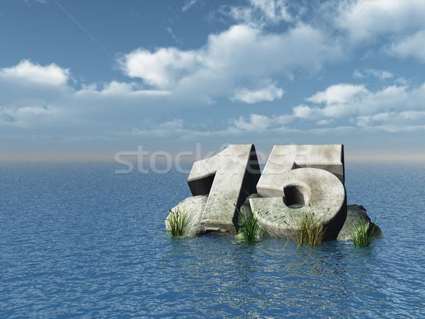 Vijftien aantal oceaan 3d illustration natuur zee Stockfoto © drizzd