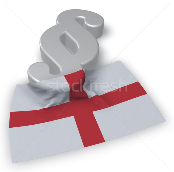 Stock photo: paragraph symbol and flag of england - 3d rendering