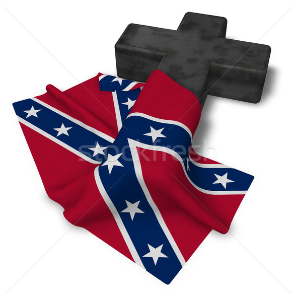christian cross and flag of the Confederate States of America - 3d rendering Stock photo © drizzd