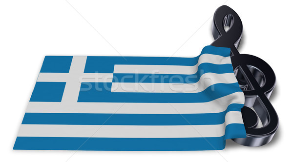 clef and flag of greece - 3d rendering Stock photo © drizzd