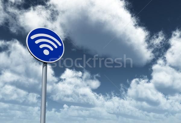 Wifi szimbólum útjelzés 3D renderelt kép felhős Stock fotó © drizzd
