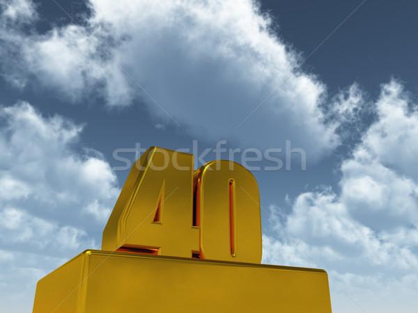Negyven szám 40 kék ég 3d illusztráció buli Stock fotó © drizzd