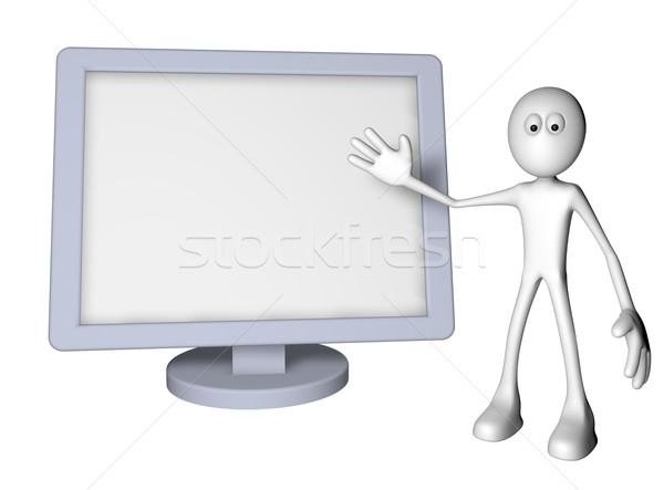 Lapos kijelző fehér fickó monitor 3d illusztráció számítógép Stock fotó © drizzd