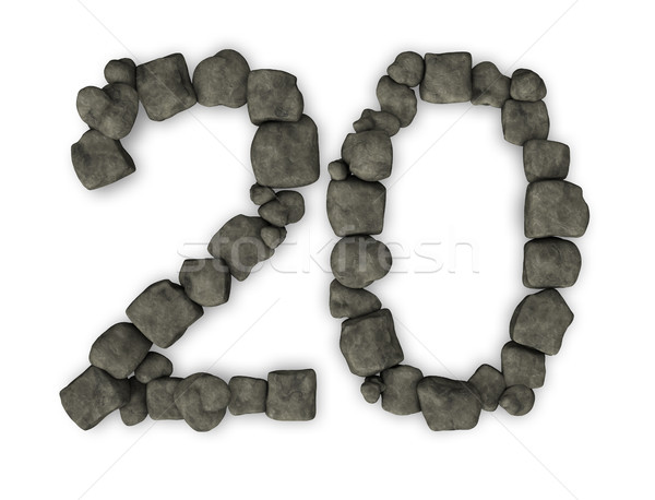 Número vinte ilustração 3d pedra aniversário Foto stock © drizzd