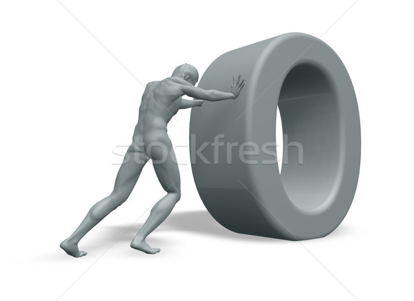 man pushes uppercase letter o Stock photo © drizzd
