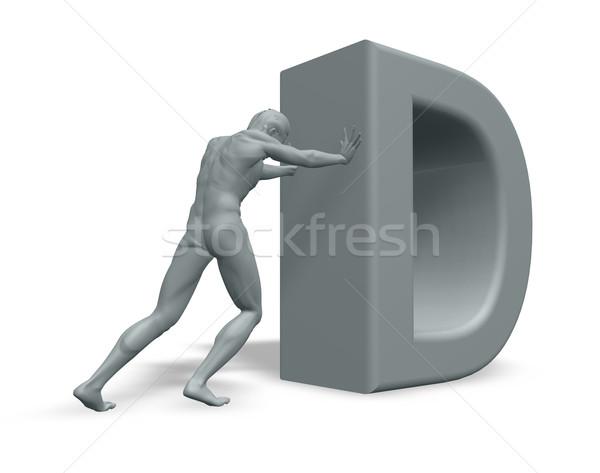 Férfi d betű alkat fehér 3d illusztráció levél Stock fotó © drizzd