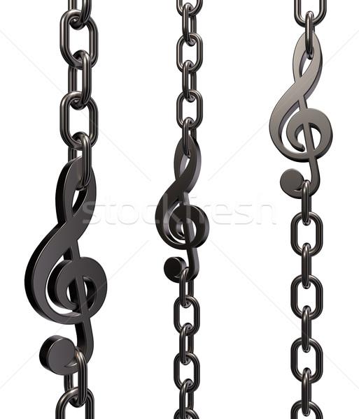 Fém lánc fehér 3d illusztráció kulcs zár Stock fotó © drizzd