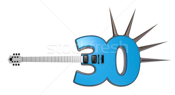 Numara otuz gitar beyaz 3d illustration Metal Stok fotoğraf © drizzd