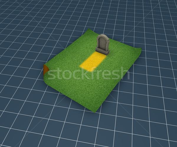 Mezar taşı çim yüzey 3d illustration ölüm taş Stok fotoğraf © drizzd