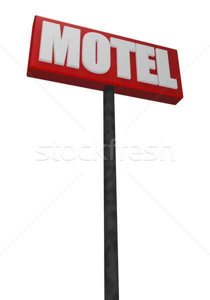 Motel teken witte 3d illustration hemel weg Stockfoto © drizzd