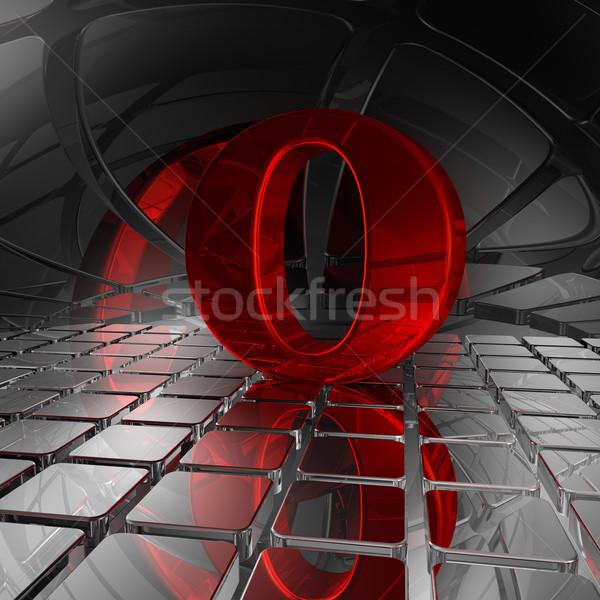 O betű absztrakt futurisztikus űr 3d illusztráció fény Stock fotó © drizzd