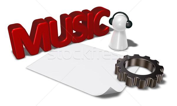 Música etiqueta artes rueda peón auriculares Foto stock © drizzd