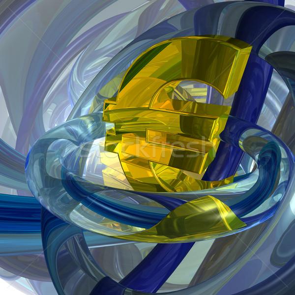 Euro Symbol abstrakten futuristisch 3D-Darstellung Geld Stock foto © drizzd