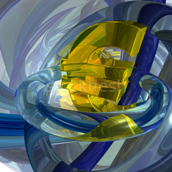 Euro symbool abstract futuristische 3d illustration geld Stockfoto © drizzd