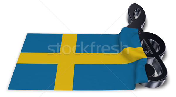 clef symbol and flag of sweden - 3d rendering Stock photo © drizzd