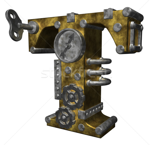 Steampunk lettre t blanche 3d illustration horloge art Photo stock © drizzd