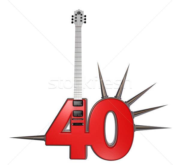 Numara kırk gitar beyaz 3d illustration Metal Stok fotoğraf © drizzd
