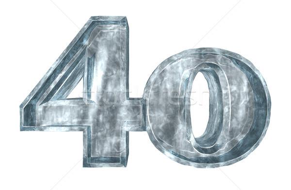 Photo stock: Congelés · quarante · nombre · blanche · 3d · illustration · anniversaire