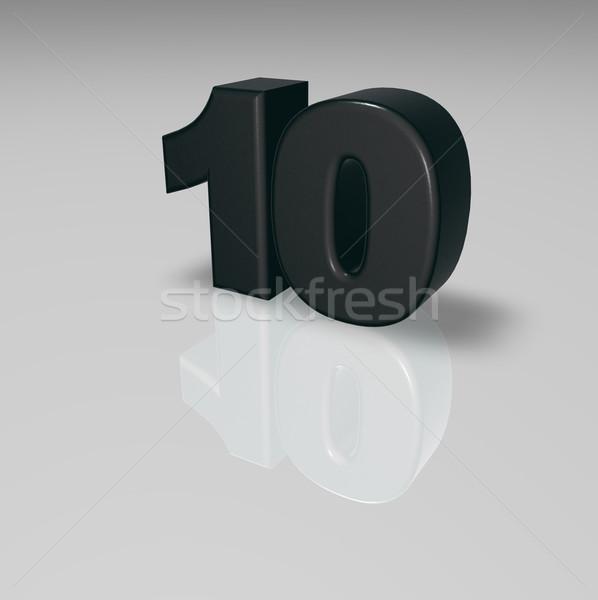 Nombre dix blanche 3d illustration anniversaire illustration Photo stock © drizzd